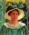Young Woman in Green, Outdoors in the Sun, 1909