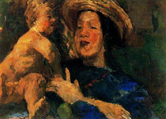 madre-e-hijo-trudl-con-mascara-1934
