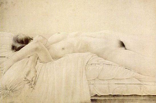 Desnudo acostado sobre edredon, 1977