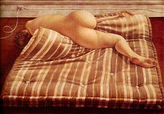 Mujer acostada en el colchon, 1974