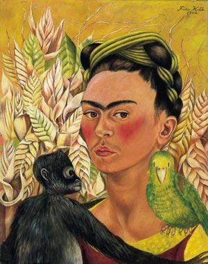 autorretrato con chango y loro, frida kahlo