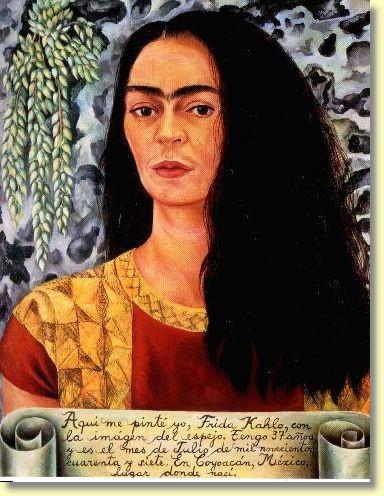 autorretrato con el pelo suelto, frida kahlo