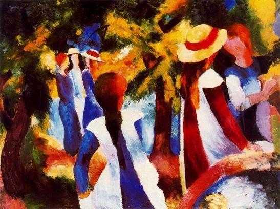 muchachas-bajo-los-arboles-1914