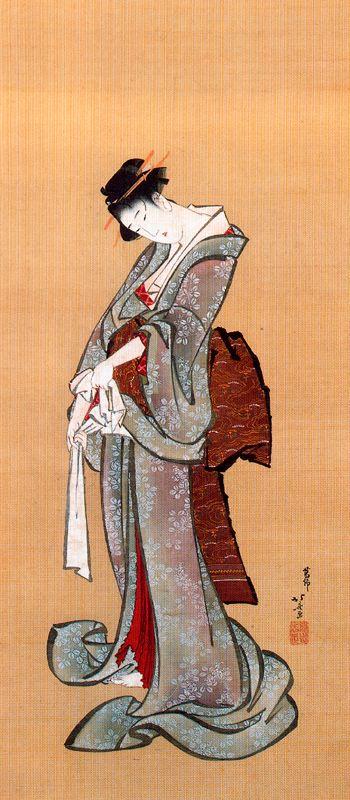 Beltà stante mentre si allaccia un obi, 1808