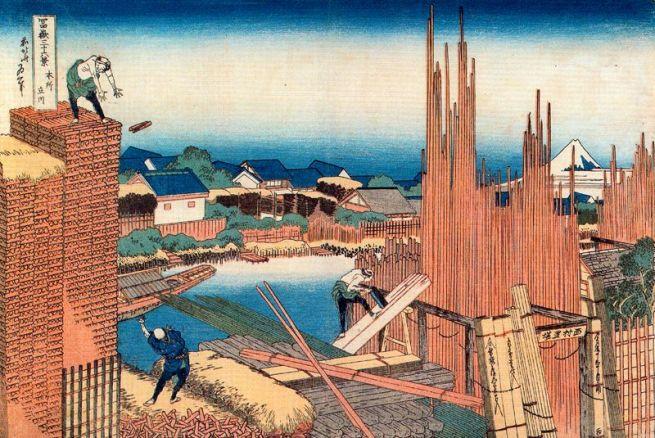 Depositi di legname sul Tatekawa a Honjo, 1830