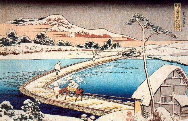 Il ponte di barche a Sano, Kozuke, antica veduta, 1834